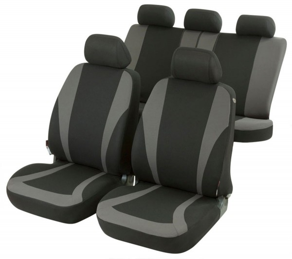 Volvo S40, seat covers, black, grey, complete set