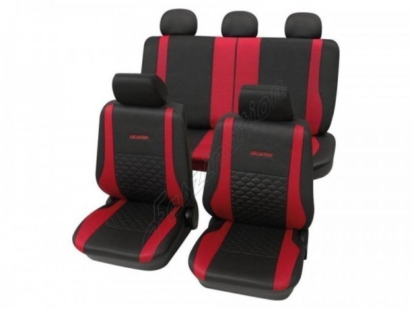 Car seat covers, protective covers, Leather look,Complete set, VW Volkswagen Käfer ,Anthracite Black Red