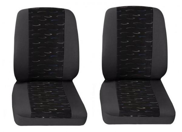 Van car seat covers, 2 x Single seat , Peugeot Bipper, Colour: Grey/Blue