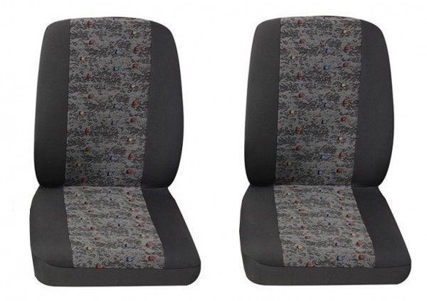 Van car seat covers, 2 x Single seat, Peugeot Bipper, Colour: Grey