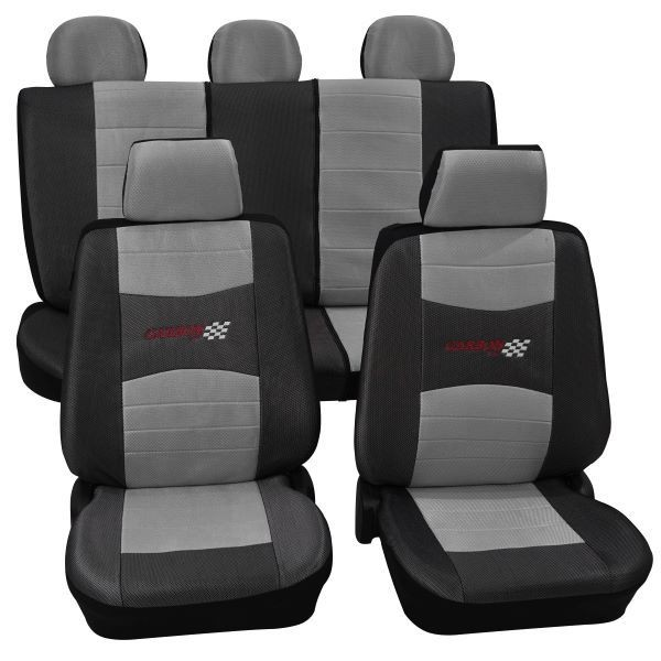 Car seat covers, protective covers, Complete set, BMW, 3er (E30), 3er (E36), 3er (E46), 3er (E90-E93) a. Cabrio, Mini One/Cooper ,Silver Black